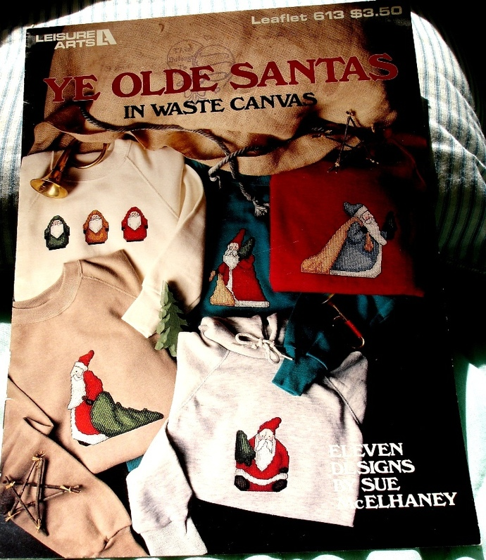 Ye Old Santas In Waste Canvas Designed By Sue McElhaney Leisure Arts Leaflet 613