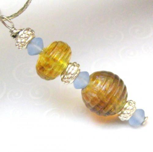 Lampwork Glass Sterling Silver Handmade Pendant Gold Yellow Blue