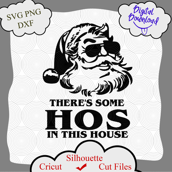 I Do It For The Hos Svg Png Cut File, Santa Face Svg, Funny Christmas Svg, Rude