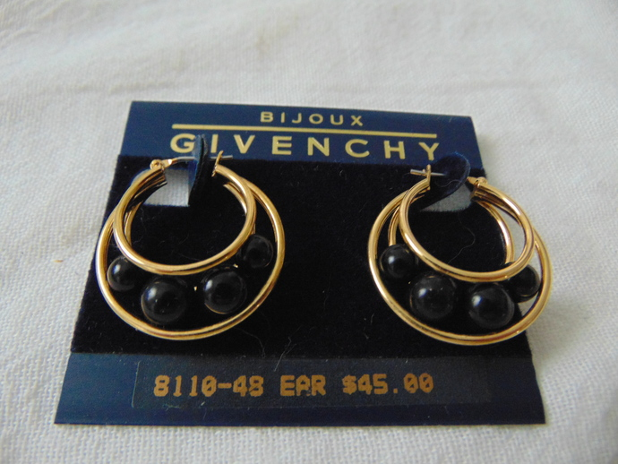 vintage Givenchy gold caged black beads hoop earrings pierced NOS bijoux