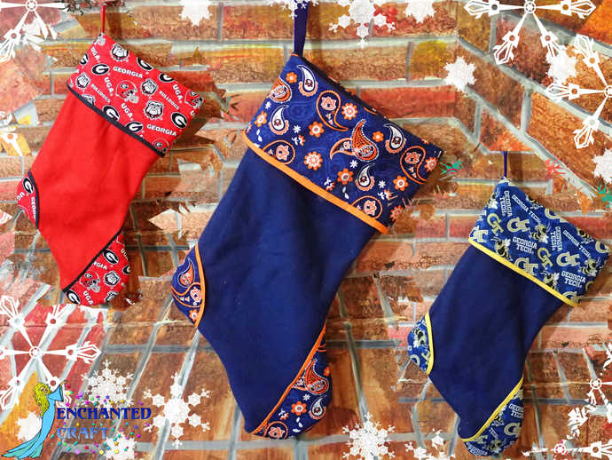 College Christmas Stocking Fleece & cotton for #Georgia #Bulldogs #Auburn