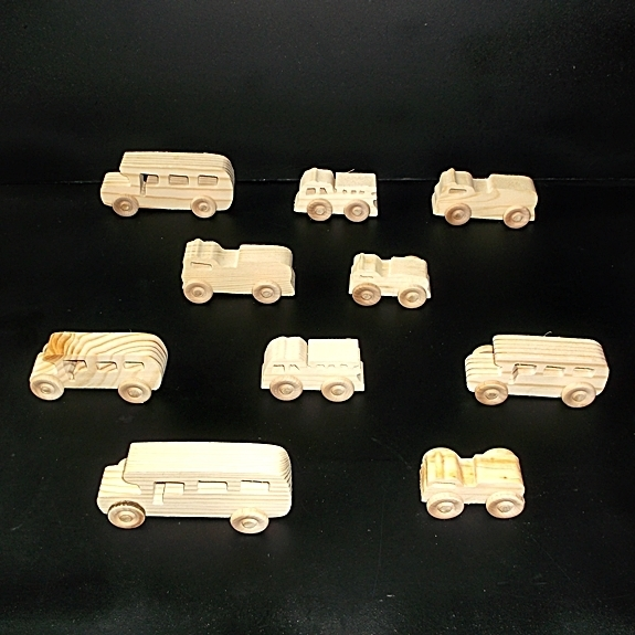 10 Handcrafted Wood Toy Fire Trucks, School Buses  OT- 21 unfinished or