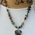 Knotted bead Necklace, beaded Jewelry, by KnottedUp, with pendant, Aquaprase,