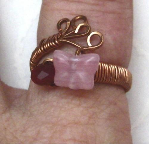 Wire Wrapped Handmade Adjustable Copper Ring Pink Butterfly