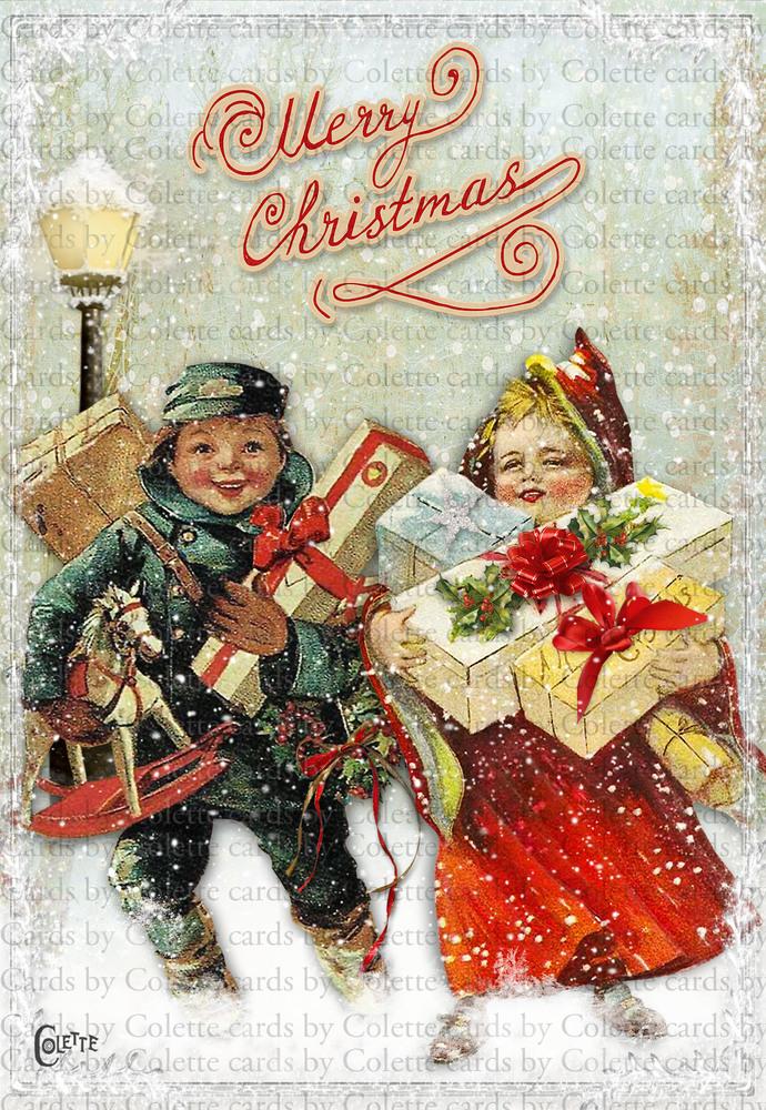 Christmas Children Delivering Presents Digital Collage Greeting Card3052