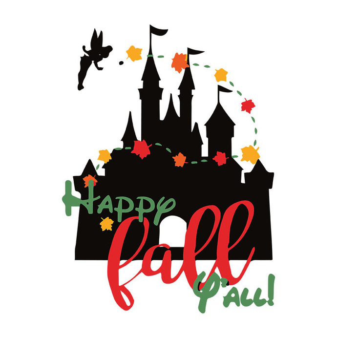 Disney Castle Shirt Fall Leaves Svg, Princess Tinkerbell Royal Thanksgiving
