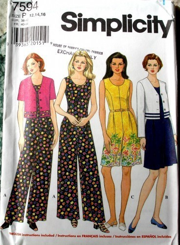 Simplicity 7594 Misses Semi Fitted Jumpsuit And Loose Fitting Jacket Size P