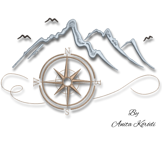 Compass embroidery machine designs mountain sailing pes pattern digital download