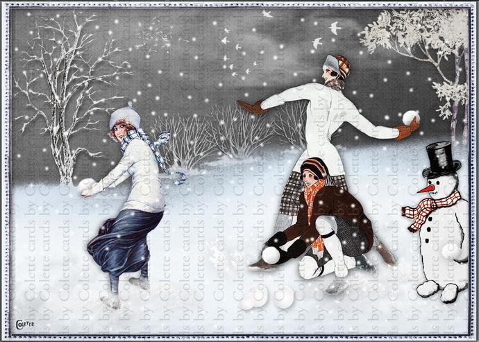 Winter Fun Snowball Fight Digital Collage Greeting Card3053