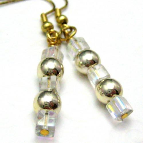 Handmade Wire Wrapped Dangle Earrings Golden Ice