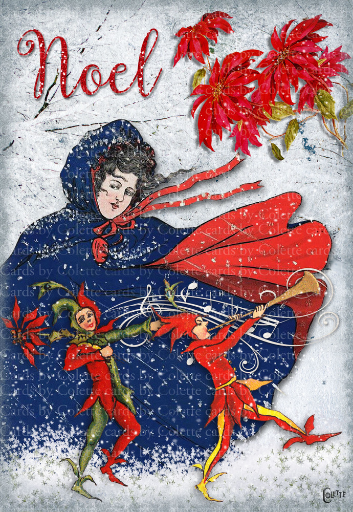 Christmas Lady and Jesters Digital Collage Greeting Card3055