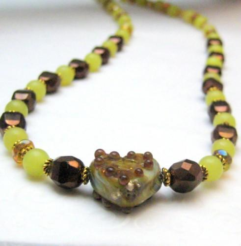 Handmade Lampwork Glass Heart Necklace Copper Bronze Green Beaded