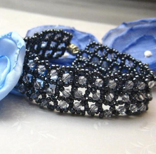 Navy Blue Ice Square Stitch Handmade Beadwoven Bracelet