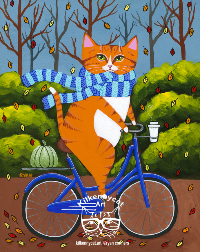 Ginger Cat Autumn Bicycle Ride Original Whimsical Cat Folk Art Painting