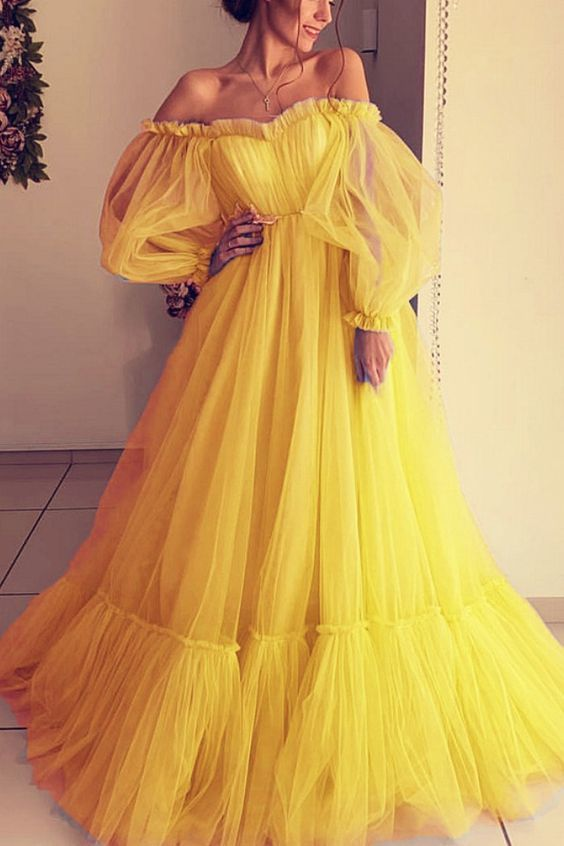 Yellow Tulle Prom Dresses,Long Sleeves Off Shoulder Evening Gown,Sexy Party