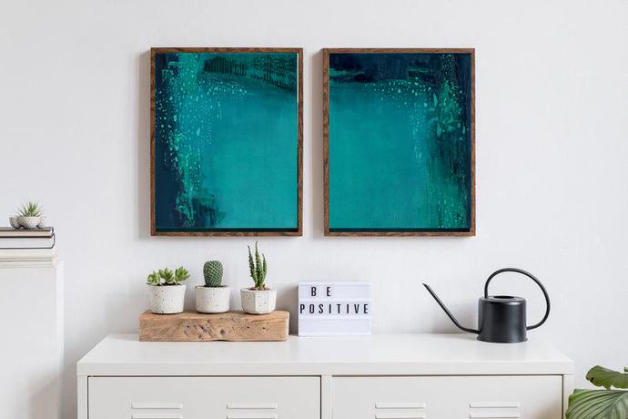 Set of 2 Prints, Abstract Art, Printable Print Set, Two Prints, Blue Wall Art,