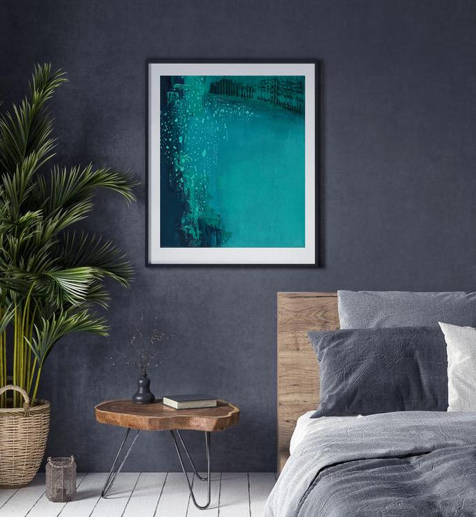Print green turquoise , contemporary art, home decor, wall art abstract, aqua