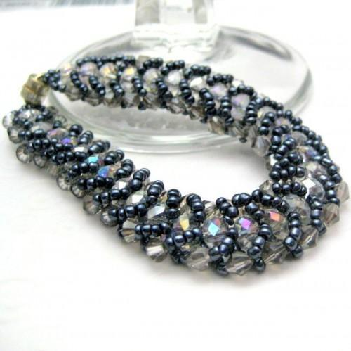 Handmade Beadwovern Flat Spiral Stitch Bracelet Midnight Blue Ice