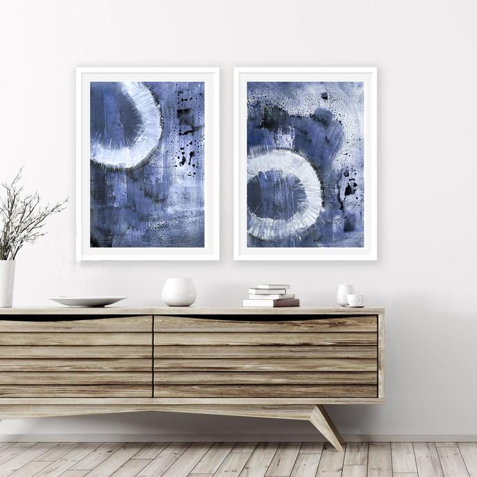 Scandinavian abstract, Printable Art, Art Poster set blue white, modern