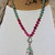 Rose Garden, Beaded Necklace, with Pendant, Rose & Green, Natural Stone Jewelry,