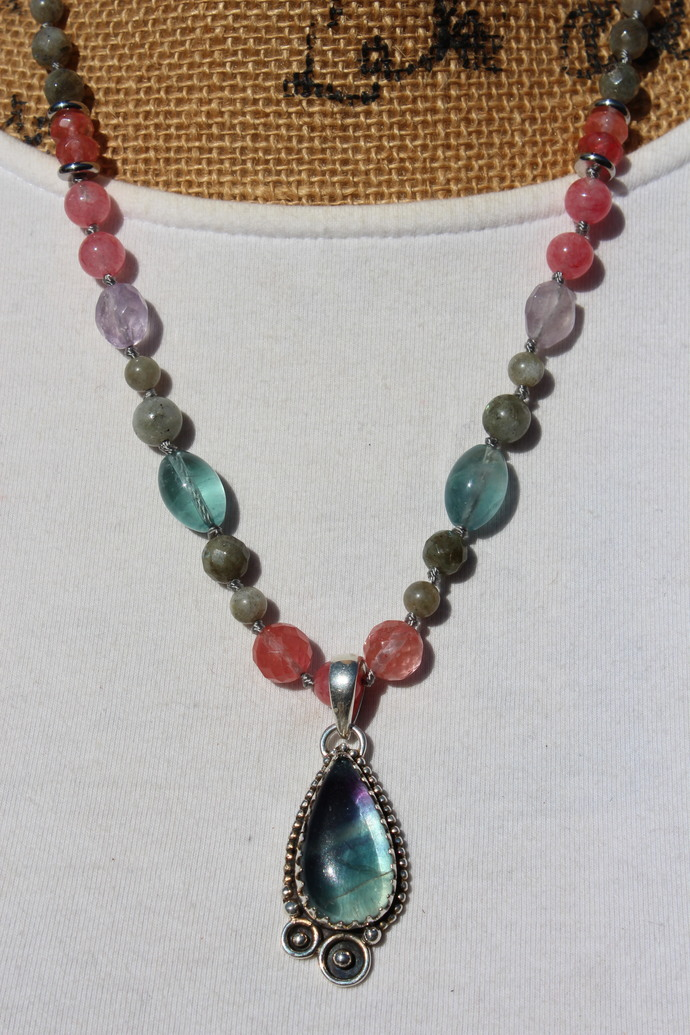 Fluorite Beaded Necklace, by KnottedUp, Singular Jewelry gifts for Women