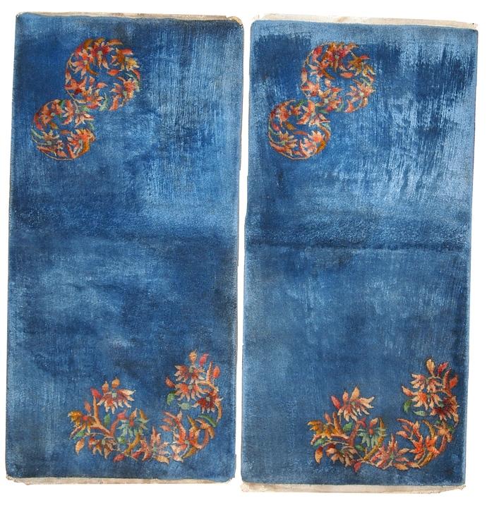 Handmade antique Art Deco Chinese pair of rugs 2' x 3.10' ( 61cm x 119cm ) 1920