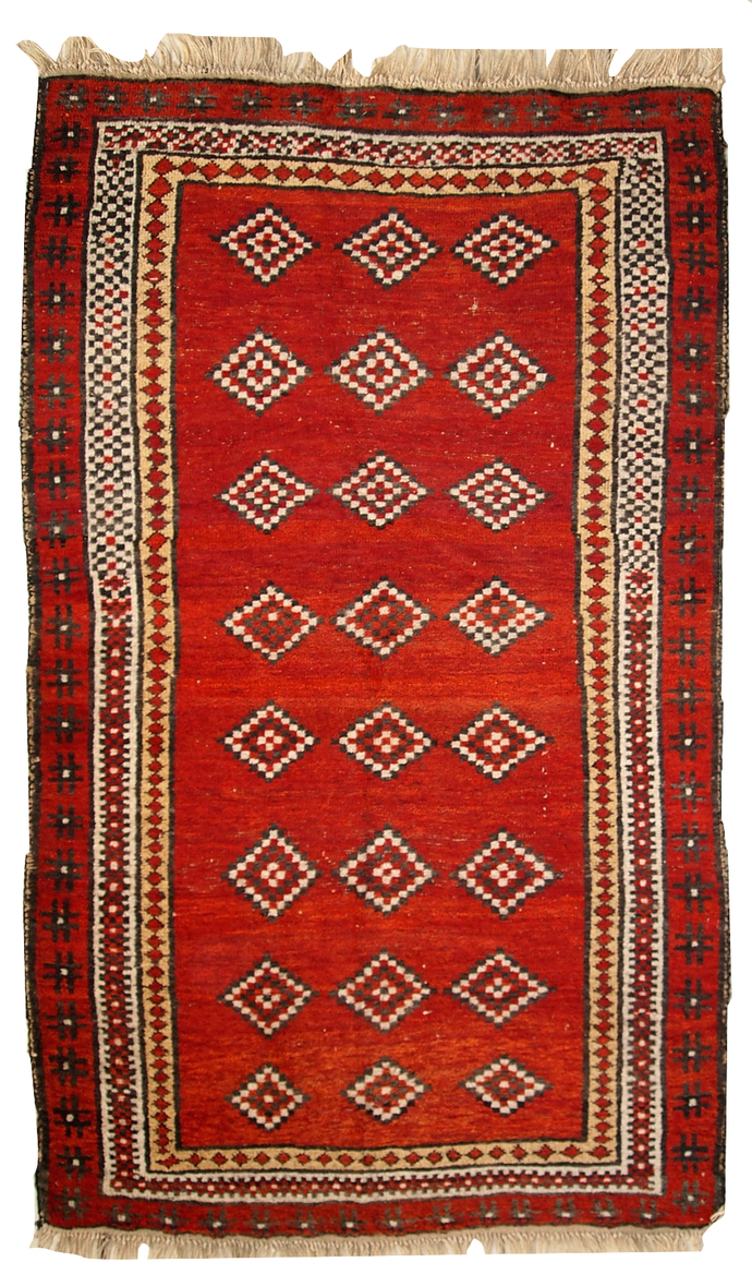 Hand made antique Uzbek Gulyam rug 3.4' x 5.5' ( 104cm x 170cm ) 1920 - 1C278