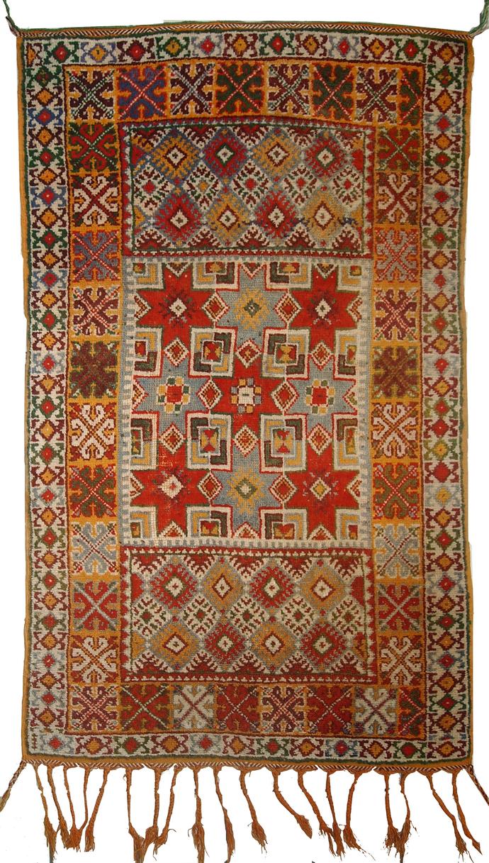 Handmade antique Moroccan Berber rug 3.2' x 5.5' ( 99cm x 168cm) 1900 - 1C292