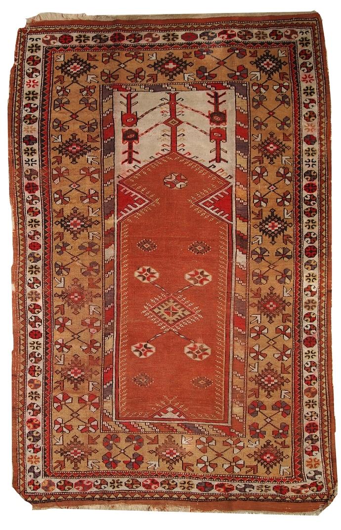 Handmade antique prayer Turkish Melas rug 4' x 6.3' ( 123cm x 192cm) 1920s -