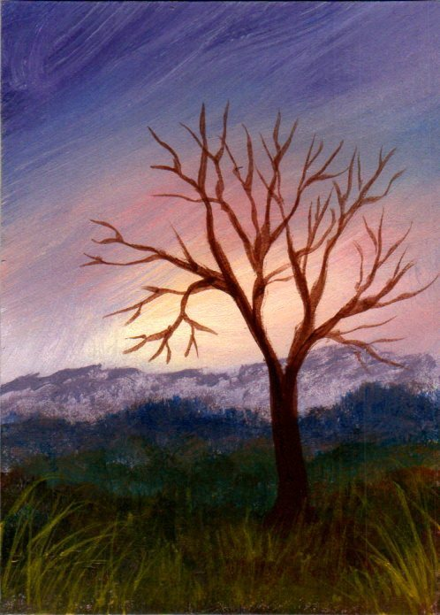 Original landscape collectible ACEO acrylic painting by Dawn Blair tree