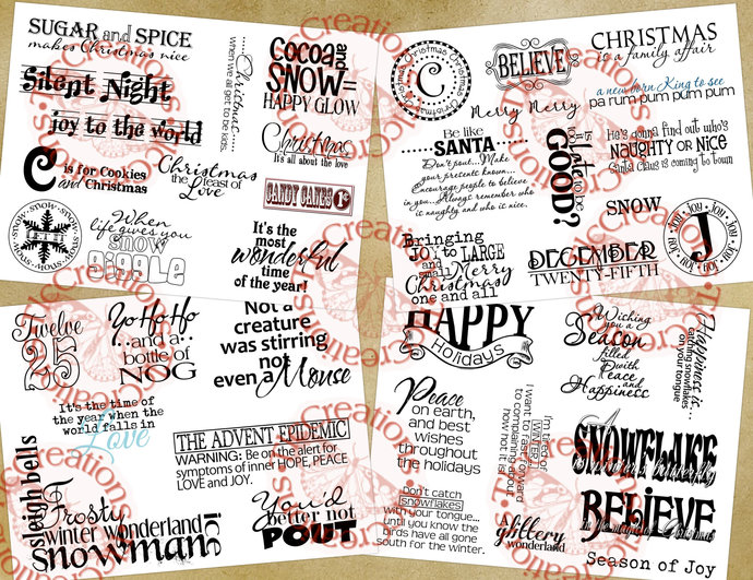 Christmas and Winter Word Art Sentiments for Card Makers and Junk Journalers,