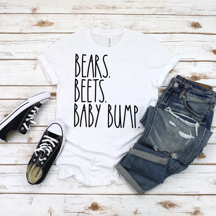 Bears Beets Baby Bump Shirt, Pregnancy Announcement, Baby Shower Gift, The