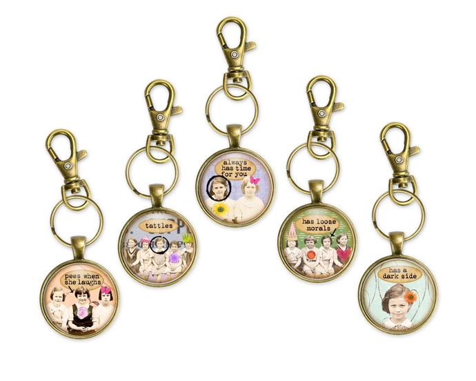 Fun purse charms or key rings with sassy sayings.  Fun gift for a girl's night