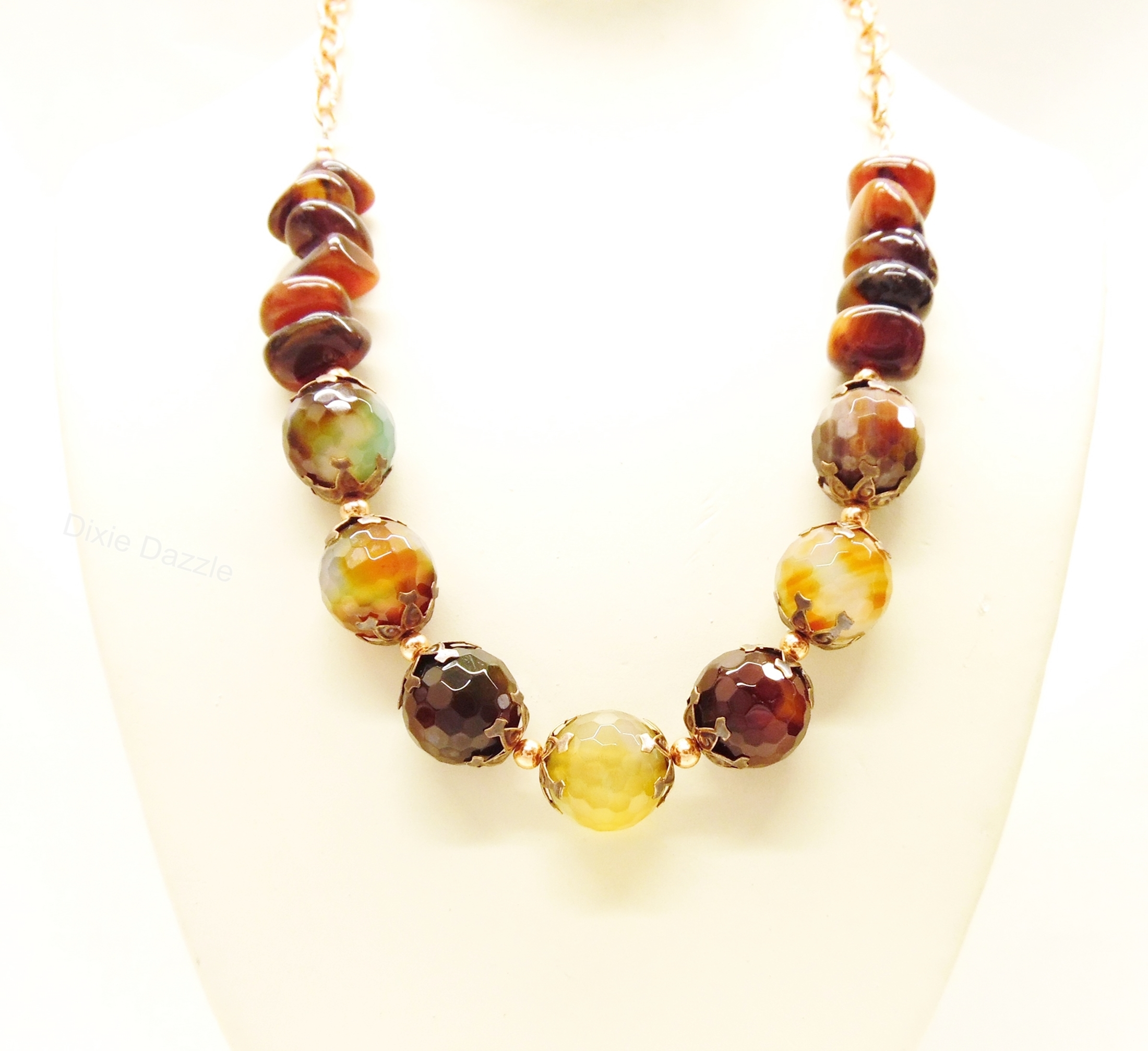 Chunky faceted agate natural stone necklace,gift under $50, autumn fashion, warm