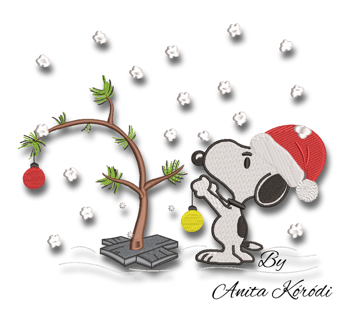 Snoopy embroidery designs christmas machine pes pattern