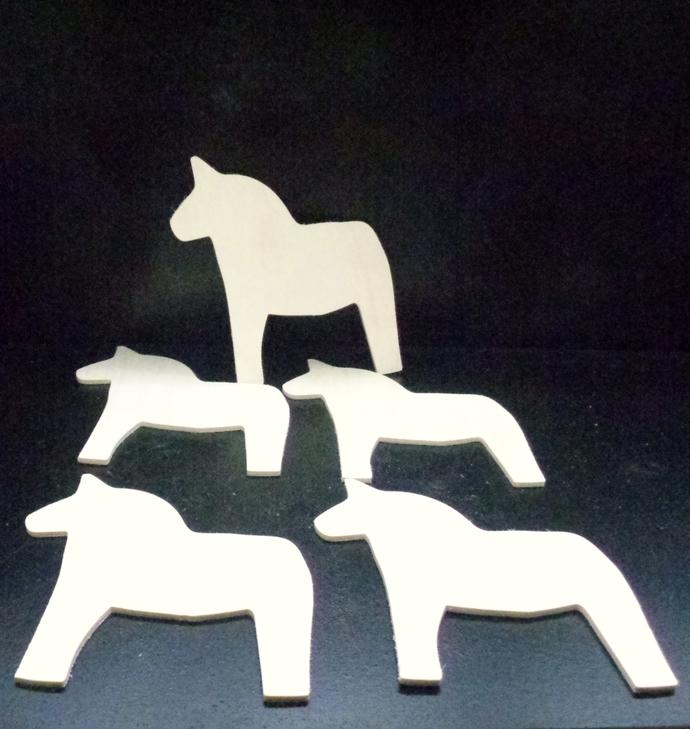5 Dala Horse Cutouts D-2-18 Unfinished Wood