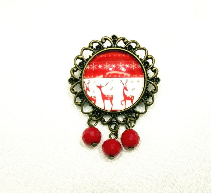 Festive sweater pin with enamel charms, shawl pin, Christmas sweater pin, xmas,