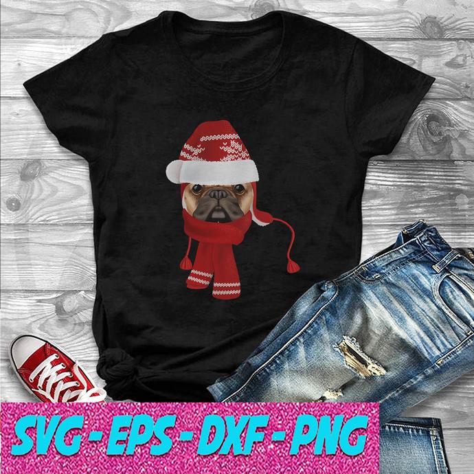 Let it snow Pug Dog SVG , EPS , DXF , PNG DIGITAL DOWNLOAD