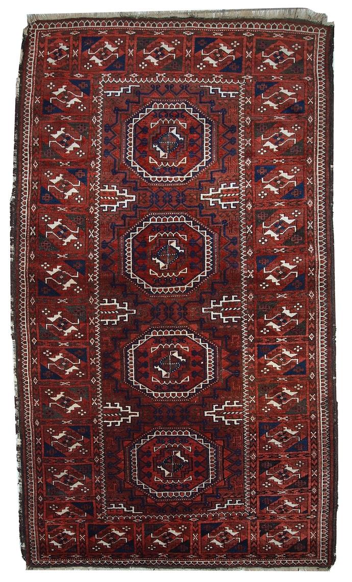 Handmade antique Afghan Baluch rug 3.3' x 5.6' ( 100cm x 170cm ) 1900s - 1C357