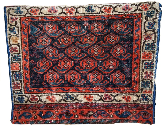 Handmade antique collectible Persian Malayer bag face 1.2' x 1.5' ( 37cm x 46cm