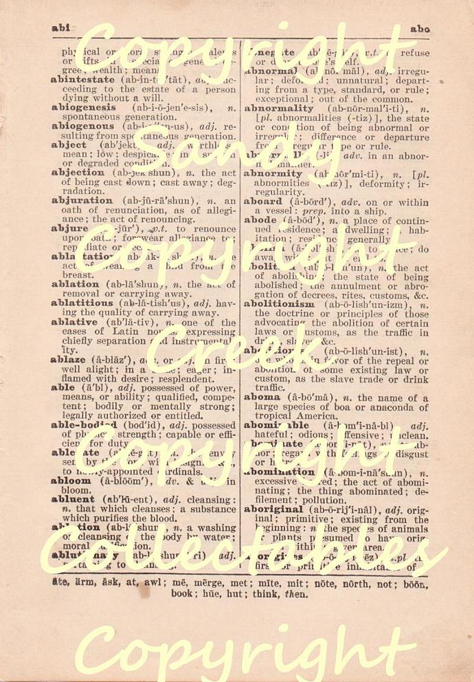 Vintage Dictionary Page Digital Download for Scrapbooking, Altered Art, Mixed