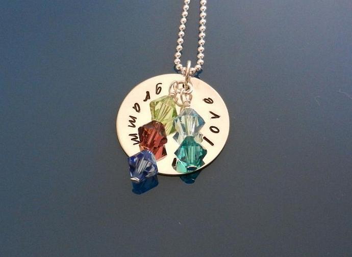"CUSTOM- 7/8"" Custom Sterling Silver Hand Stamped Circle Pendant"