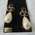 vintage Monet signed carded pearl drop black enamel pierced earrings nos