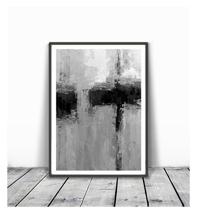 Black White gray Contemporary Art, Set of 3 Prints, Abstract Painting, Urban