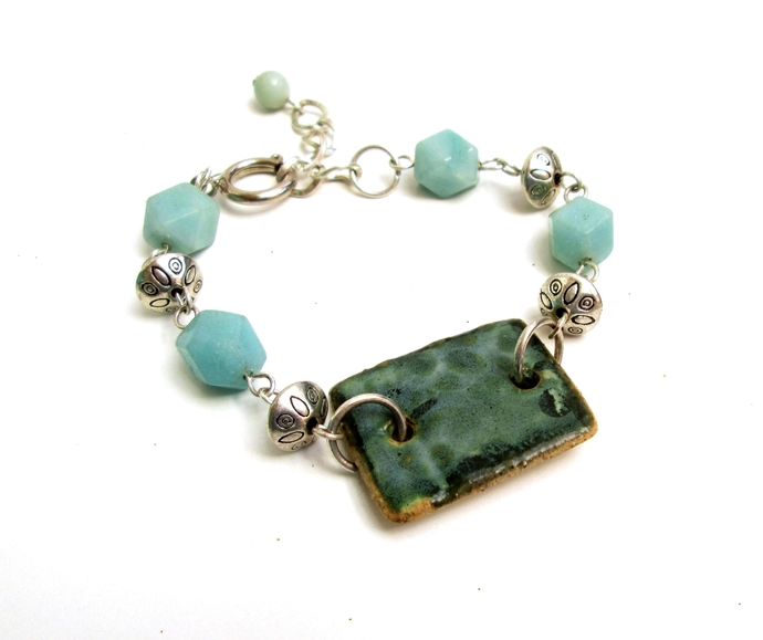 Gift under $25, one of a kind bracelet with textured ceramic bracelet bar and
