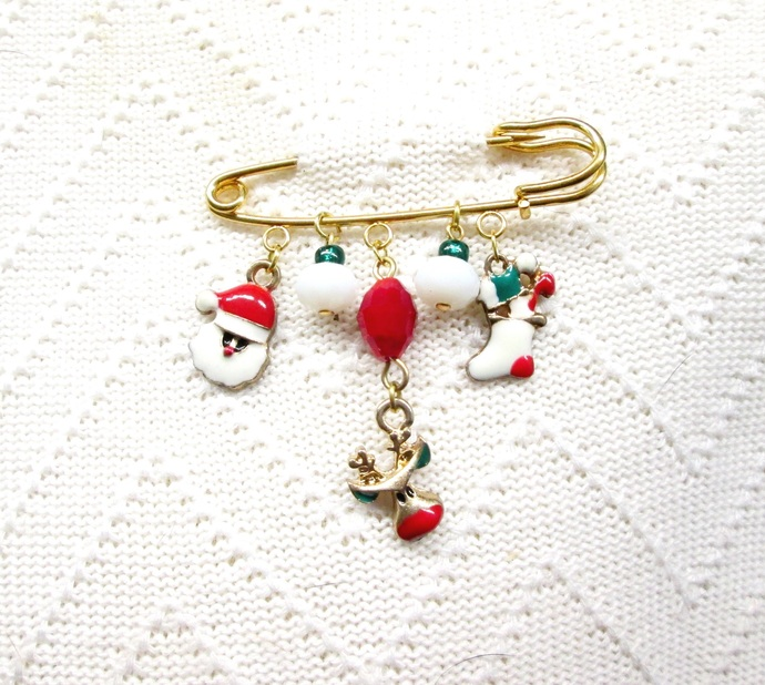 Colorful sweater pin with enamel charms, shawl pin, Christmas sweater pin, xmas,