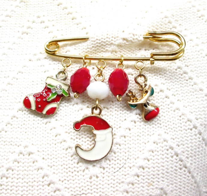 Fun Santa Moon sweater pin with enamel charms, shawl pin, Christmas sweater pin,