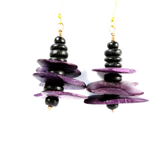 Ethnic black and purple earrings, bold, light weight earrings, tribal jewelry,