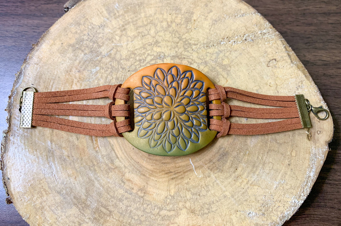 Its Fall Y'all; Suede Strap Bracelet with a Large Focal Polymer Clay Bead