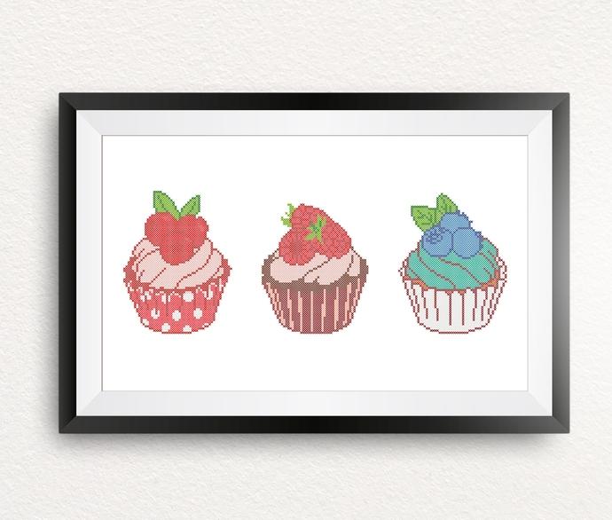 #533 Berry Cupcake Modern Cross Stitch Pattern, raspberry,  cranberry, blueberry